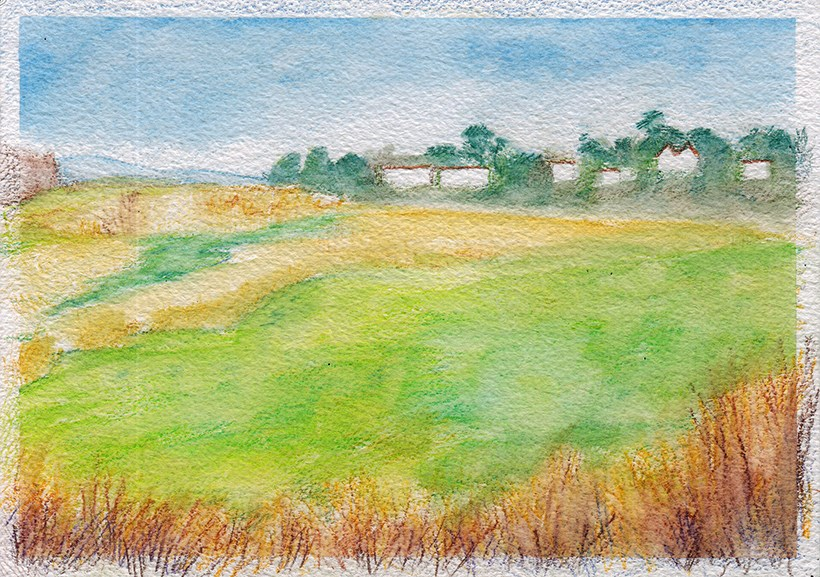 """Colourful Fields Near Yarmouth"" original fine art by J M Needham"