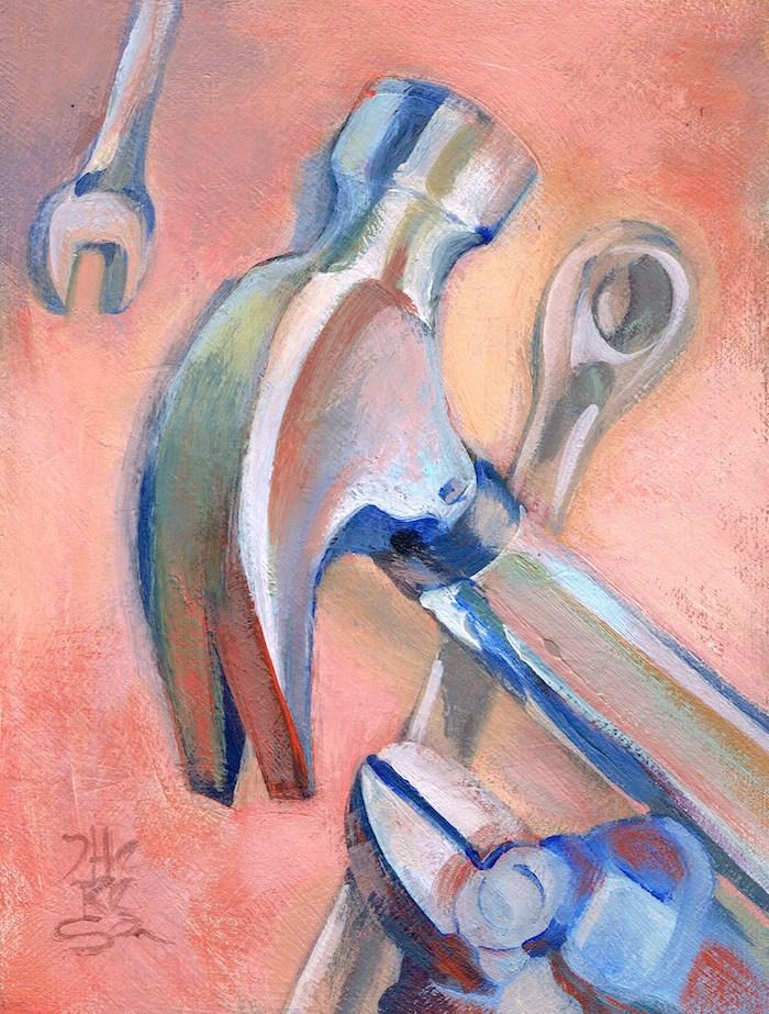 """""""Don't Borrow My Tools! - Theresa Taylor Bayer"""" original fine art by Theresa Taylor Bayer"""