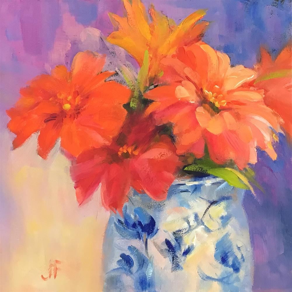 """Zinnias in Blue and White Porcelain"" original fine art by Jean Fitzgerald"