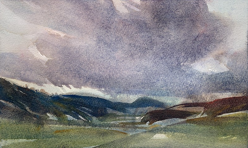 """Shifting Sky: 6x10 watercolour on paper"" original fine art by Ken Faulks"