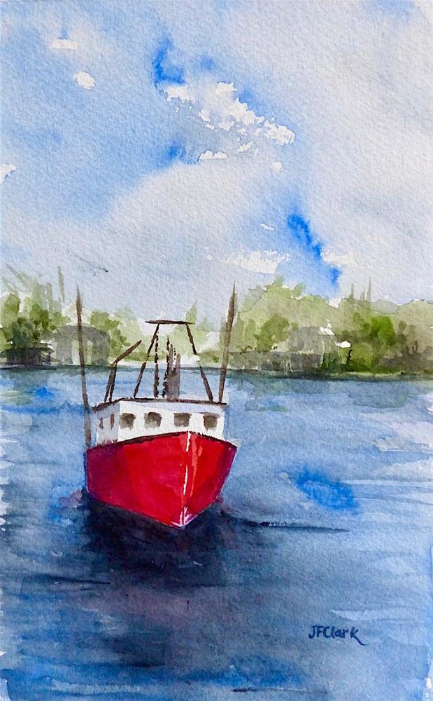 """Fishing Boat off Fairhaven"" original fine art by Judith Freeman Clark"