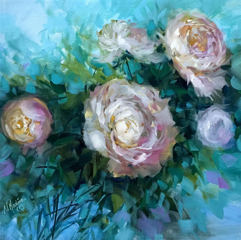 """Among Friends Pink Peonies - Nancy Medina Art Videos and Classes"" original fine art by Nancy Medina"