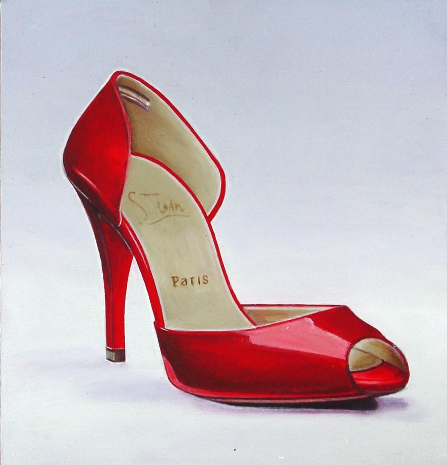 """Christian Louboutin 3- Still Life Painting Of Red Christian Louboutin Shoe"" original fine art by Gerard Boersma"