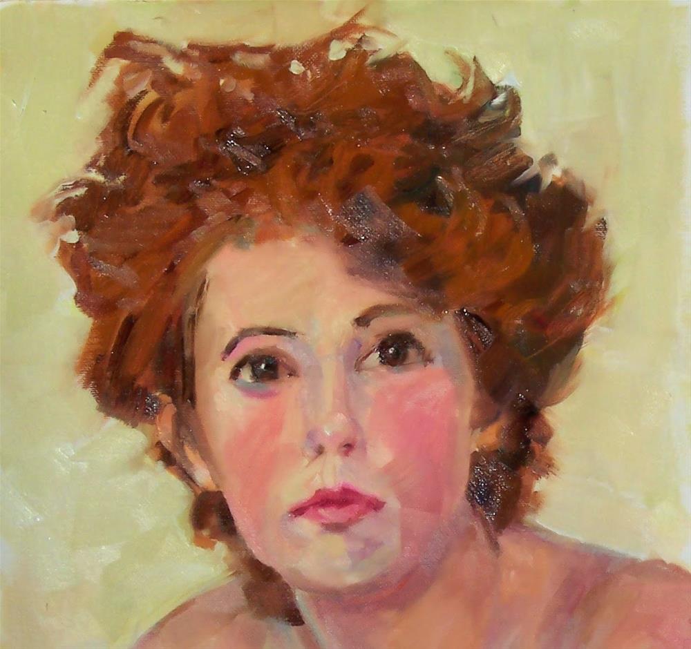 """""""Melanie,portrait,oil on canvas pad,16x12,priceNFS"""" original fine art by Joy Olney"""
