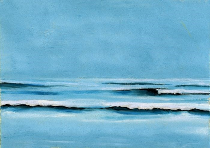 """Ocean Surf pastel painting"" original fine art by Ria Hills"