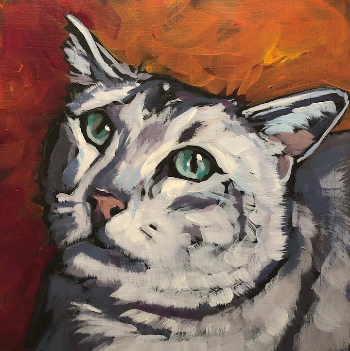 """Lonely Kitty"" original fine art by Kat Corrigan"