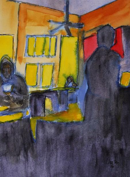 """Long Gone Coffee Shop"" original fine art by Donna Crosby"