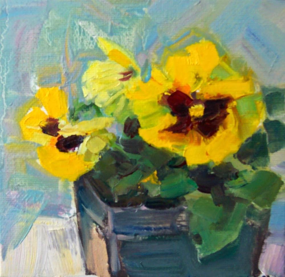 """Three Yellow Pansies,still life,oil on canvas,6x6,price$200"" original fine art by Joy Olney"