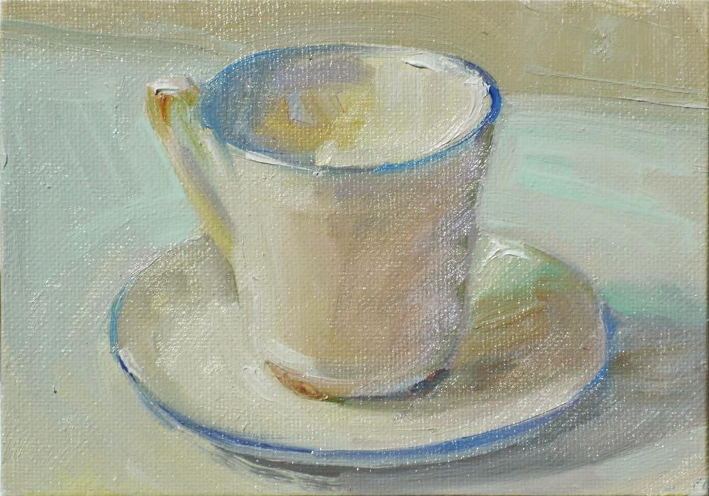 """Mummy's Teacup,still life,oil on canvas,5x7,price$200"" original fine art by Joy Olney"