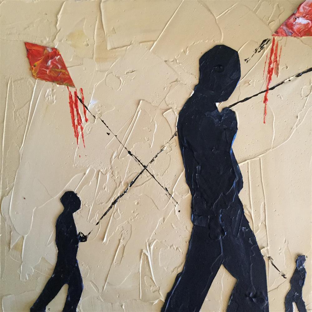 """Boys with kites"" original fine art by pamela kish"