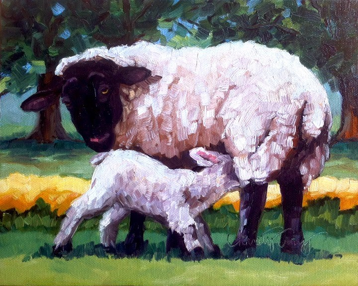 """LAMB AND EWE"" original fine art by Kristy Tracy"