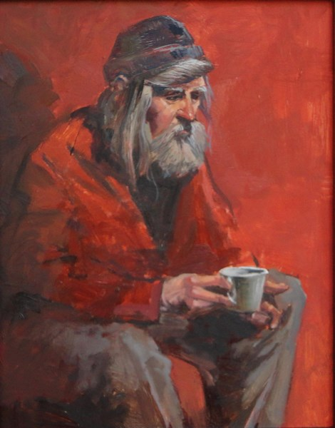 """Man With Cup"" original fine art by Kirk Miller"