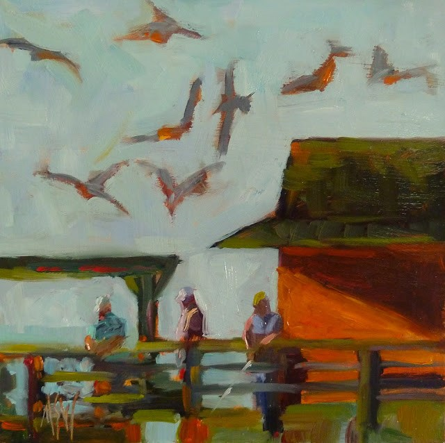 """""""Fishing on  Naples Pier 6x6 oil on panel. One of a series of paintings of Naples Pier."""" original fine art by Mary Sheehan Winn"""