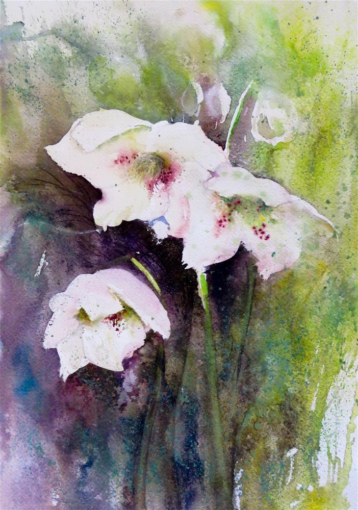 """""""Christmas Roses"""" original fine art by Christa Friedl"""