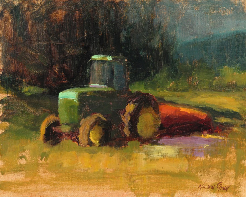 """Green Tractor"" original fine art by Naomi Gray"