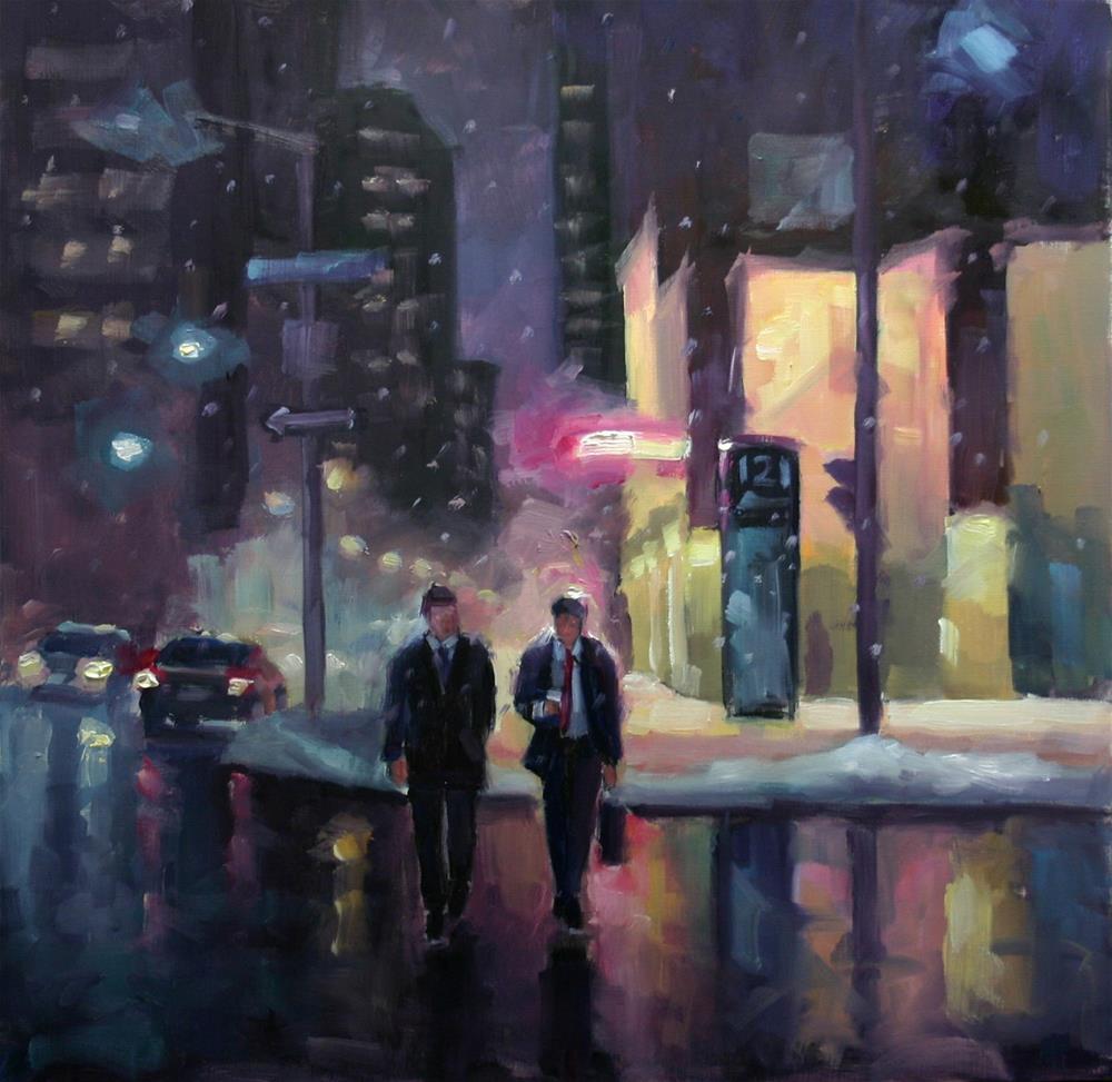 """The Colours of Night, King Street West, Toronto"" original fine art by Catherine Jeffrey"