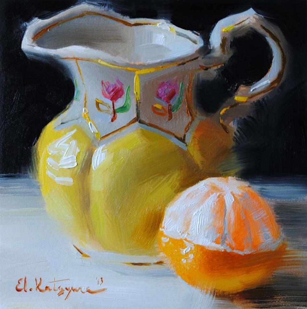 """Yellow Creamer"" original fine art by Elena Katsyura"