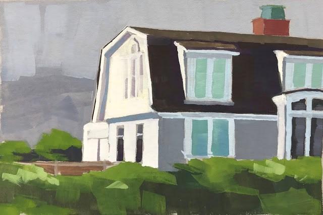 """Padaro Lane Beach House - gouache"" original fine art by Sharon Schock"