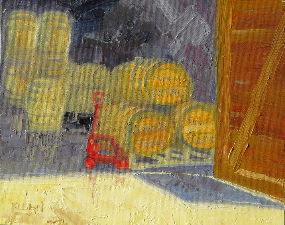 """Barrels of Fun at Abacela!"" original fine art by Richard Kiehn"