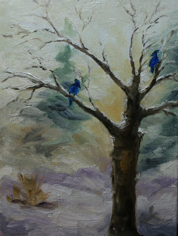 """""""Jays in Winter Apple Tree"""" original fine art by Jean Nelson"""