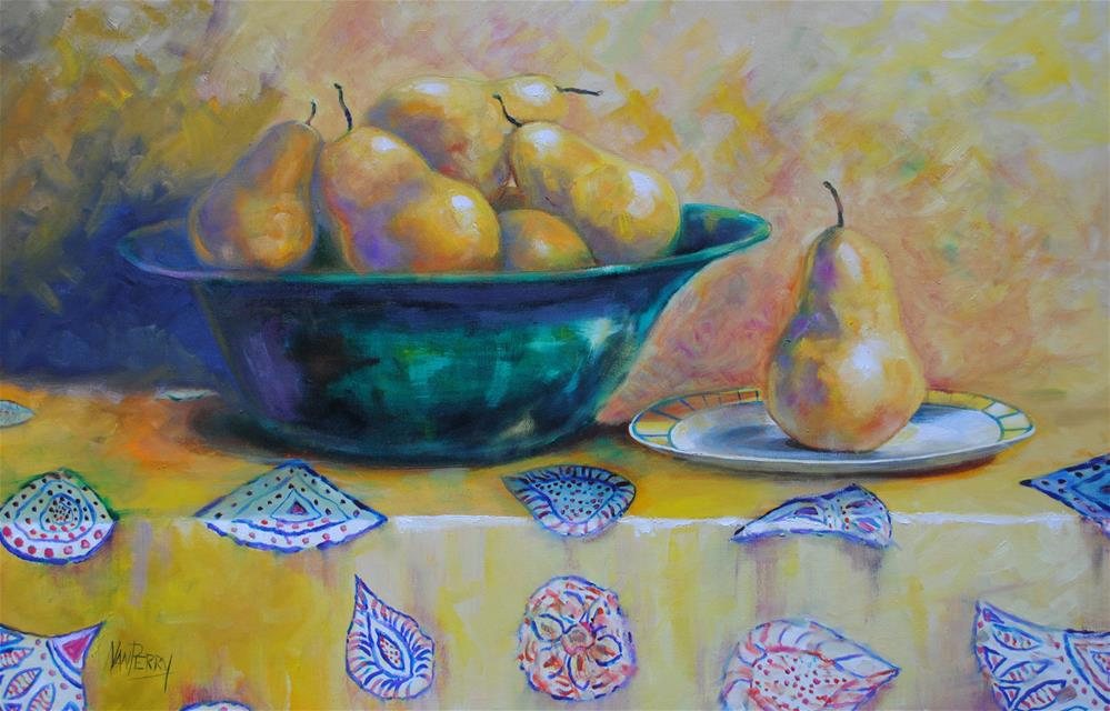 """""""Pears on Yellow"""" original fine art by Nan Perry"""