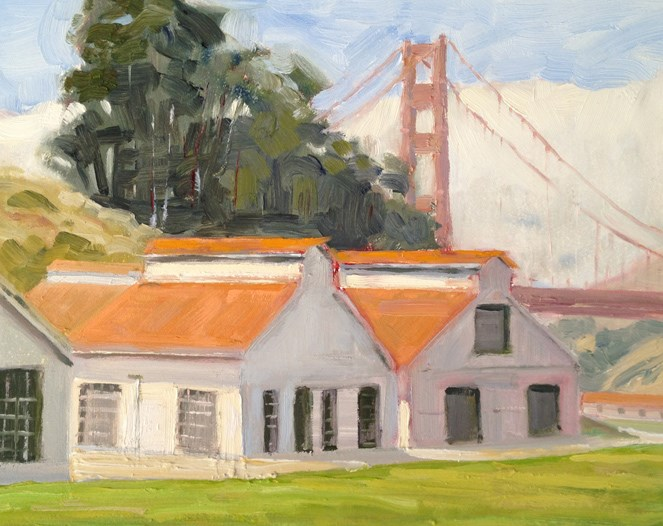 """Painting at Crissy Field"" original fine art by Deborah Newman"