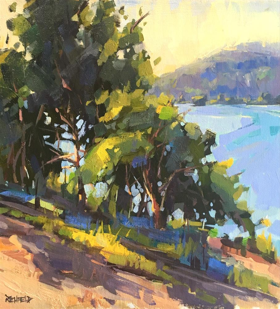 """Sunrise On The Columbia 12x12"" original fine art by Cathleen Rehfeld"