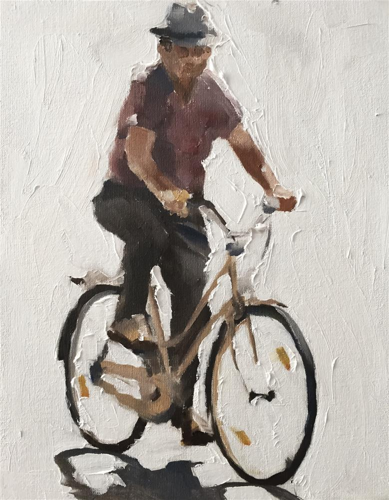 """Man on Bicycle"" original fine art by James Coates"