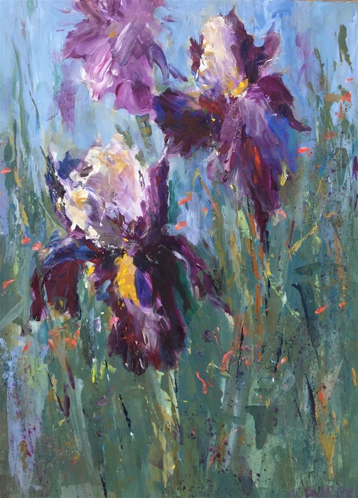 """""""Palette knife iris painting meadow field flower """" original fine art by Alice Harpel"""