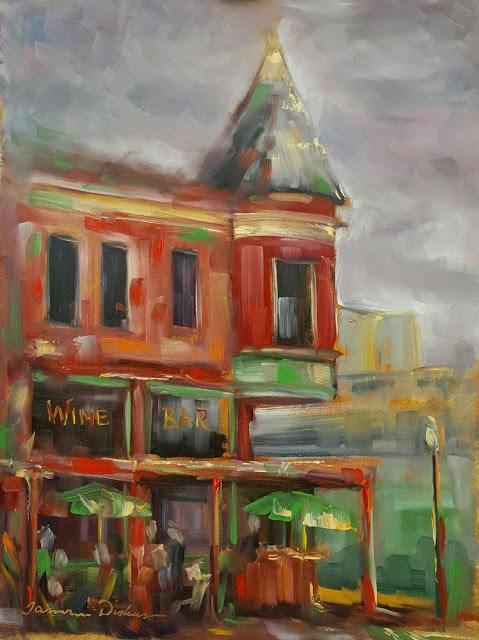 """Wine Bar"" original fine art by Tammie Dickerson"