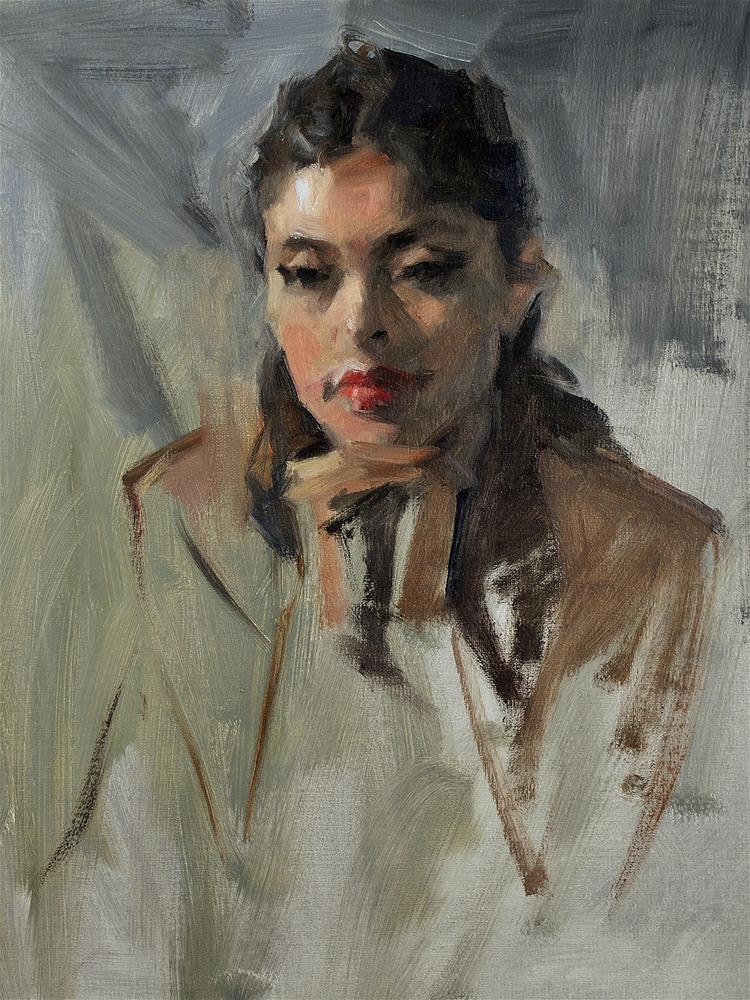 """""""Thoughtful"""" original fine art by Mike Peterson"""