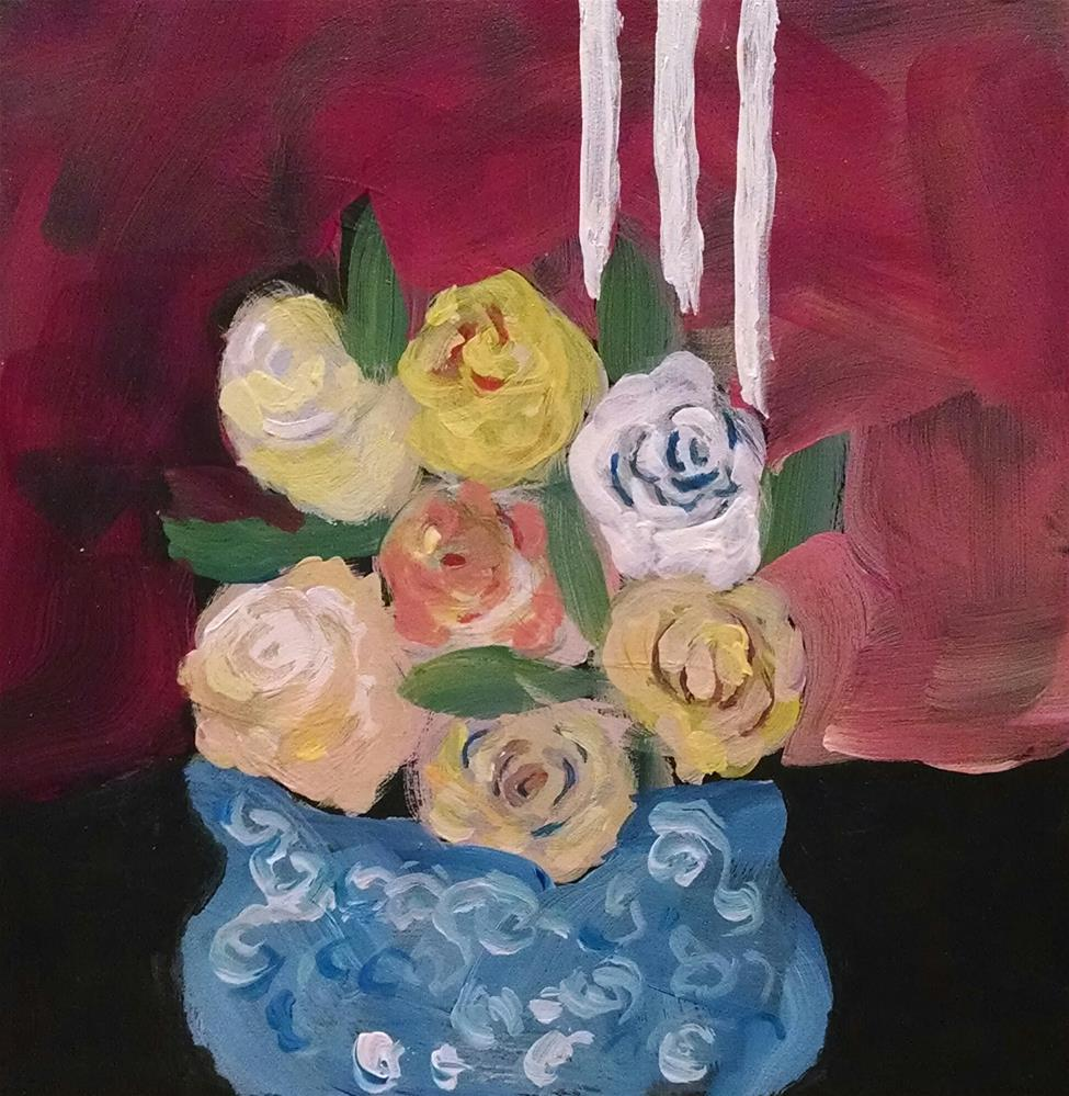 """Bowl of Roses"" original fine art by Kathy Fleming"