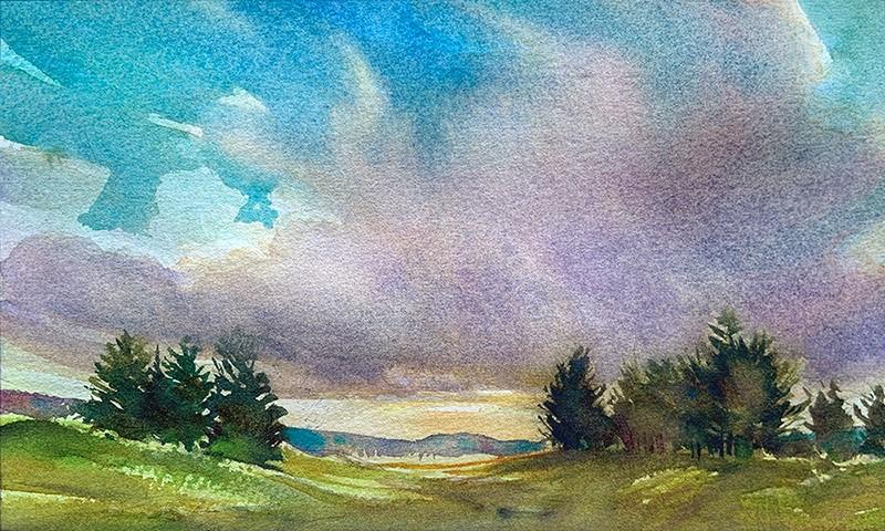"""Warming Light: 6x10 watercolour on paper"" original fine art by Ken Faulks"