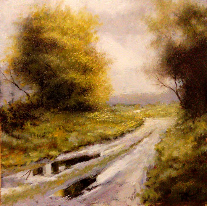 """""""Puddles on the Road"""" original fine art by Bob Kimball"""