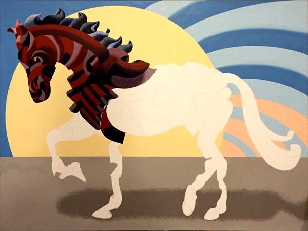 """""""Mark Webster - More Progress on Abstract Geometric Futurist Horse Oil Painting"""" original fine art by Mark Webster"""
