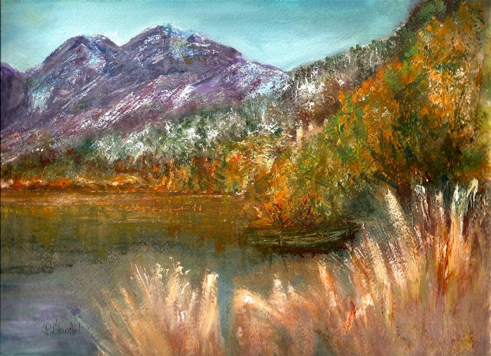 """""""9x12 Landscape Mountains lake trees weeds Gouache Painting by Penny StewArt"""" original fine art by Penny Lee StewArt"""