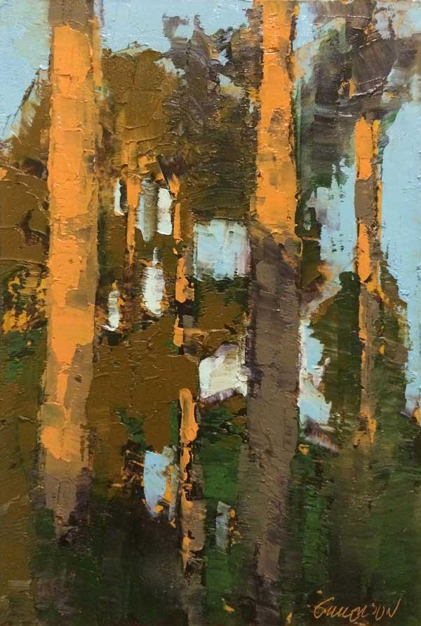 """Backyard Pines"" original fine art by Mary Gilkerson"
