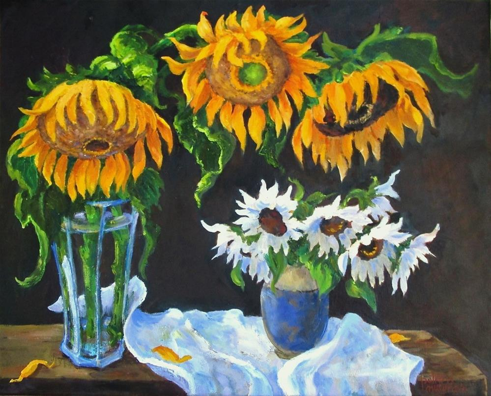 """Sunflowers, Yellow & White"" original fine art by Patricia Musgrave"