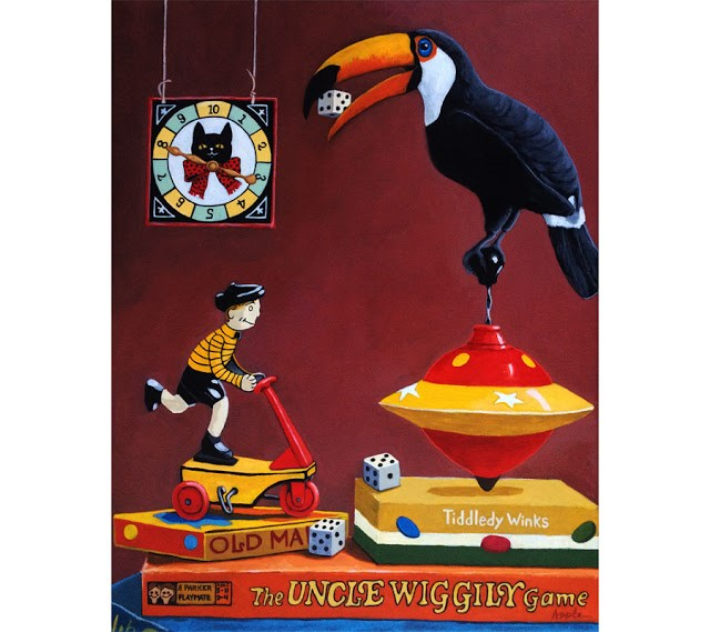 """Toucan Play at this Game - realistic whimsical still life original painting"" original fine art by Linda Apple"