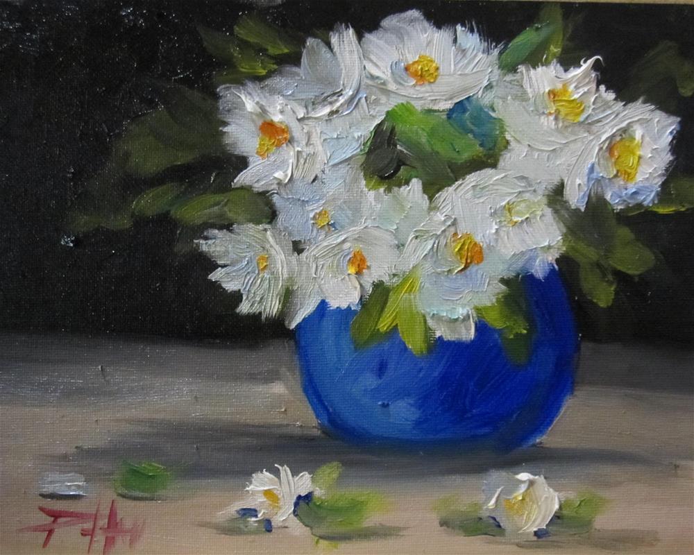 """""""Blue Vase White Flowers"""" original fine art by Delilah Smith"""