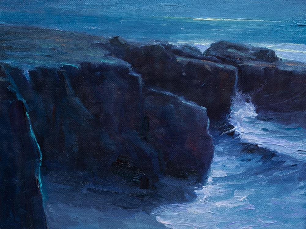 """""""Night at Garrapata State Beach 6x8"""" original fine art by Pavel Gazur"""