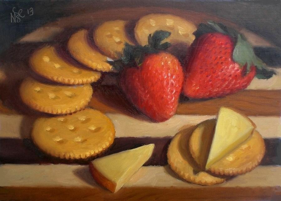 """Crackers, Strawberries and Cheese"" original fine art by Debra Becks Cooper"