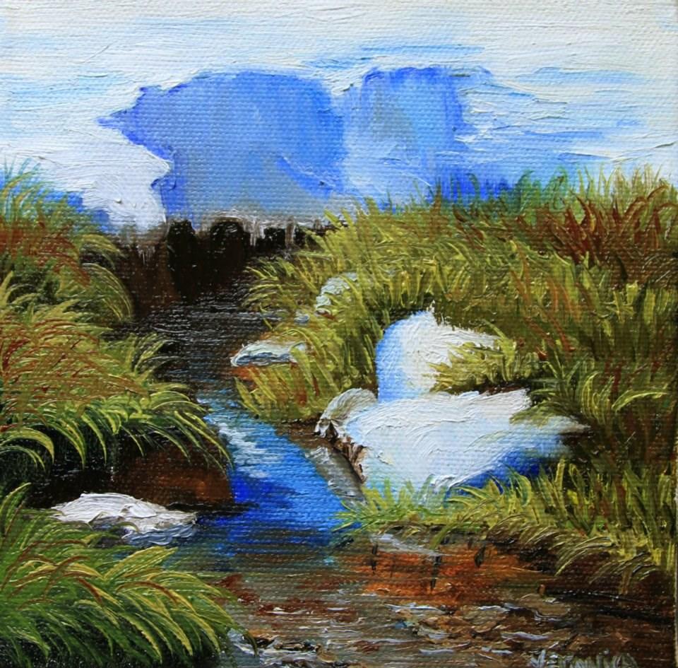 """Snow along the Cache la Poudre River"" original fine art by Veronica Brown"
