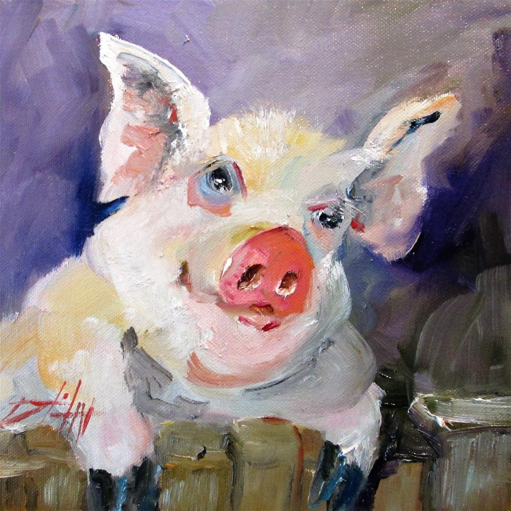 """Chubby Pig"" original fine art by Delilah Smith"