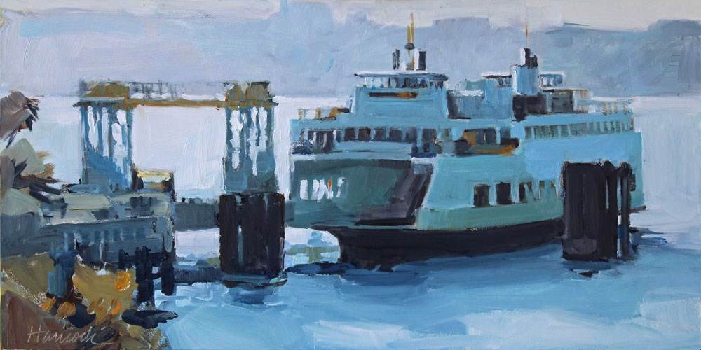 """Ferry at Fauntleroy"" original fine art by Gretchen Hancock"