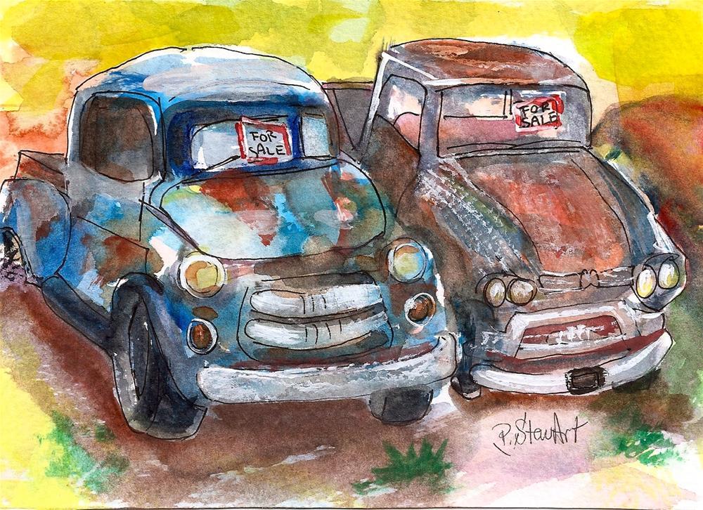 """Two Rusty Old Trucks For Sale 5x7 Watercolor Painting Original SFA Penny StewArt"" original fine art by Penny Lee StewArt"