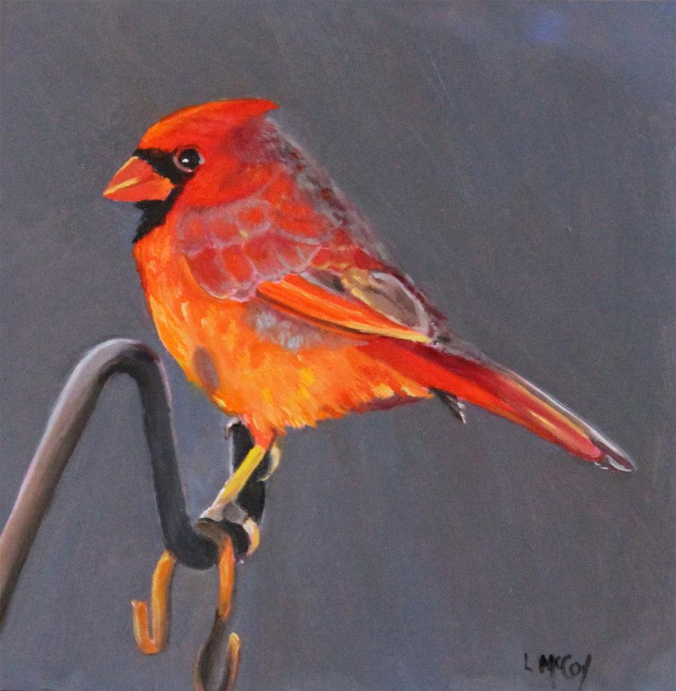 """The Boyfriend, Cardinal Oil Painting"" original fine art by Linda McCoy"