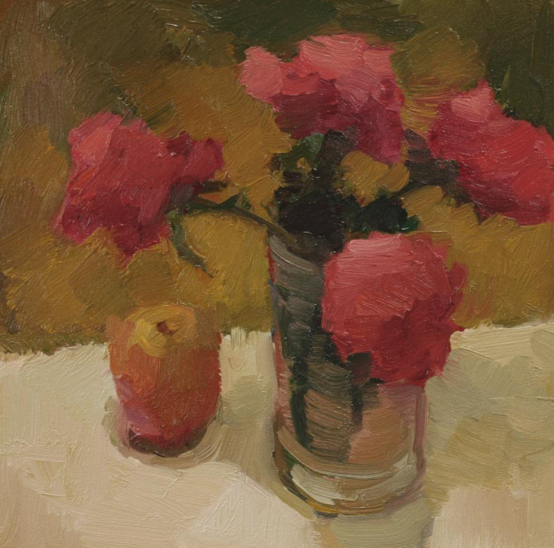 """""""Roses and Apple"""" original fine art by Kathryn Townsend"""