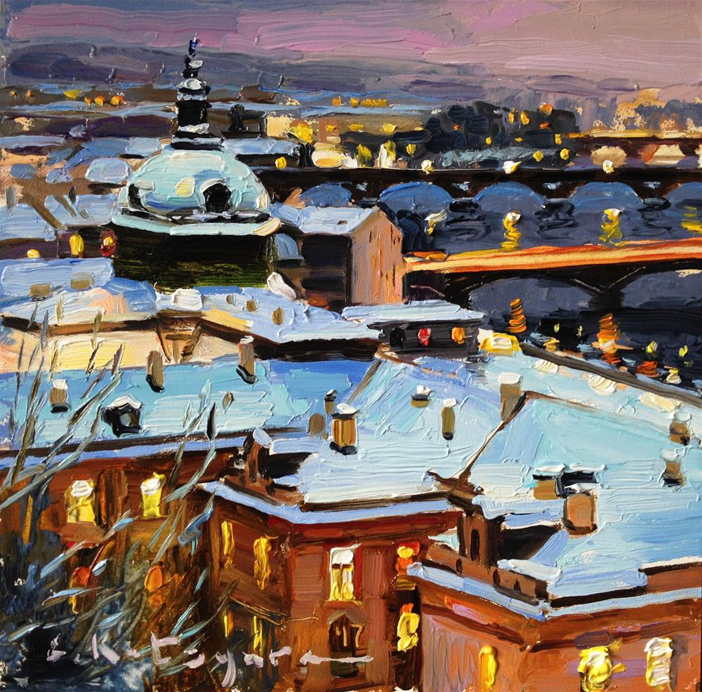 """Prague Rooftops and Bridges"" original fine art by Elena Katsyura"
