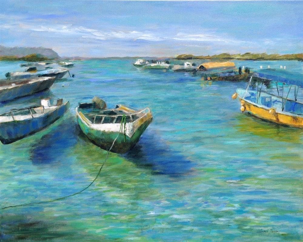 """""""Galapagos Harbor"""" original fine art by Nancy F. Morgan"""